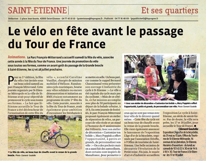 Article de presse atelier fête du vélo